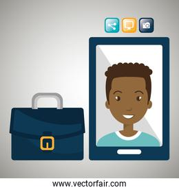 executive man and cellphone isolated icon design