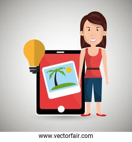 persons with smartphone isolated icon design