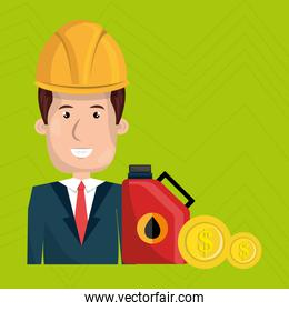 man and industry isolated icon design