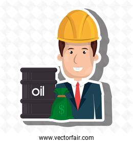 persons with barrel petroleo isolated icon design