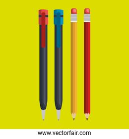 pencil and pen isolated icon design