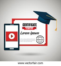 certificate and smartphone isolated icon design