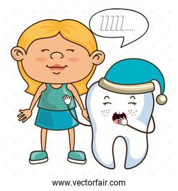 girl with tooth isolated icon design
