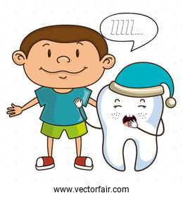 child with tooth isolated icon design