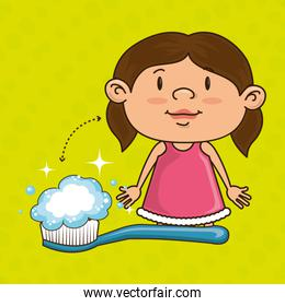 girl with toothbrush isolated icon design