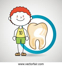 child happy tooth isolated icon design