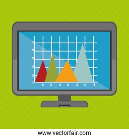 laptop and statistics isolated icon design
