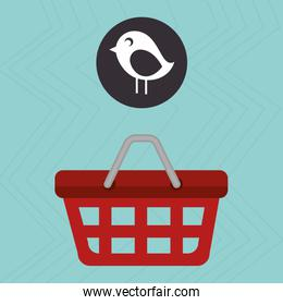 red basket and bird isolated icon design
