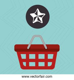red basket and star isolated icon design
