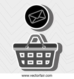 red basket and envelope isolated icon design