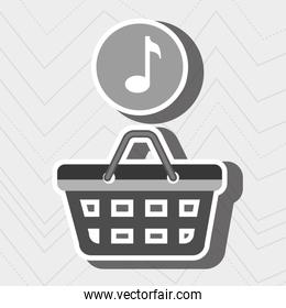 red basket and music isolated icon design