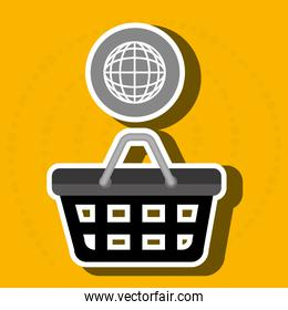 red basket and connection global isolated icon design