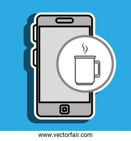 smartphone blue cup coffee isolated icon design