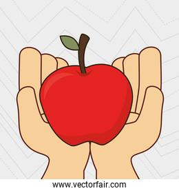 fruit natural hands food icon