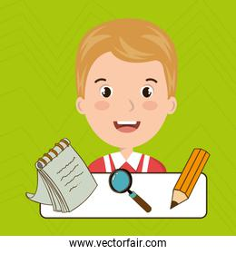 student pencil notepad search