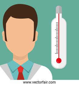 man medical staff thermometer