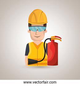 worker fire extinguisher glasses
