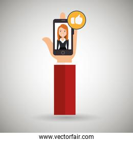 hand cellphone woman icon