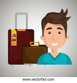 man suitcase travel location