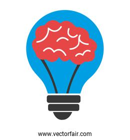 blue light bulb with red brain,vector graphic
