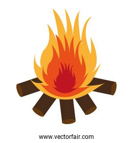 wooden logs with flame,vector graphic
