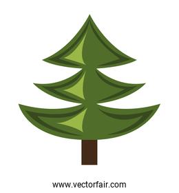 green pine tree with wooden log,vector graphic