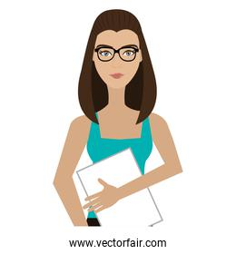 hipster avatar woman with colorful clothes,vector graphic