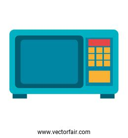 blue microwave with colorful squares,vector graphic