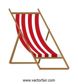 colorful beach chair with brown wood,vector graphic