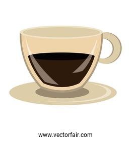 modern cup of coffeein dish ,vector graphic
