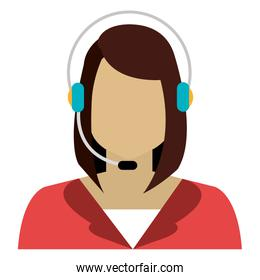 woman avatar and headphones, vector graphic