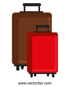 colorful travel bags, vector graphic