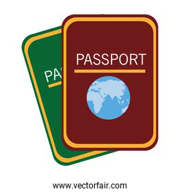 colorful world passports, vector graphic