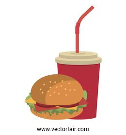 colorful cup and burger, vector graphic