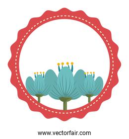 red circle and flowers, vector graphic