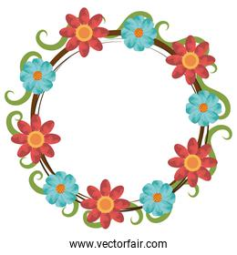 colorful flowers crown, vector graphic