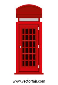 red british telephone cabin, vector graphic