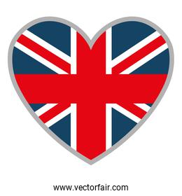 heart and british flag, vector graphic