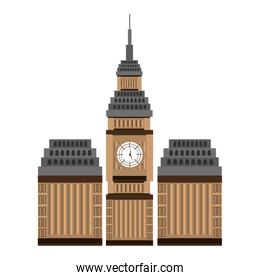 british building view, vector graphic
