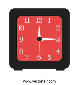 black and red clock, vector graphic