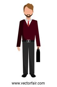 avatar business man front view, vector graphic
