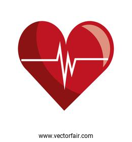 Heart and cardio waves colorful icon.