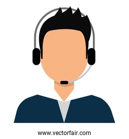 Male with headphones and microphone cartoon.