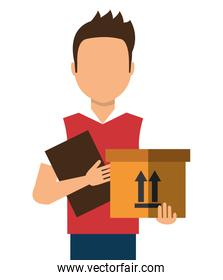 Courier with a box and a document in her hands, cartoon design.