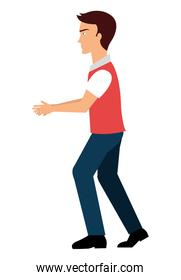 Young male walking, isolated colorful cartoon.