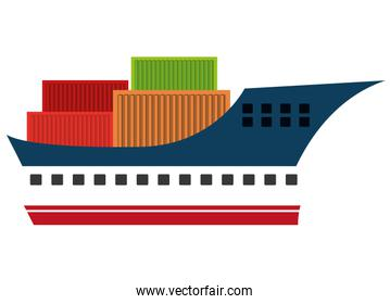 Freigther boat with containers isolated icon on white background