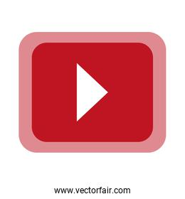 Play button over red background, vector illustration.