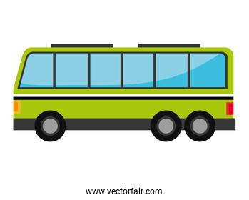 Green bus with windows isolated on white background