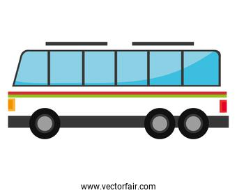 White bus with red and green stripes.