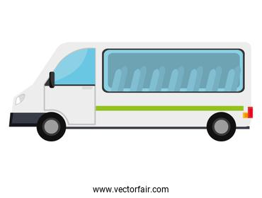 White van with a green stripe vehicle transport.